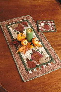 Enjoy the Pumpkin Patch Set digital pattern from Love of Quilting Sept/Oct '11. Make this matching set of table runner and hot pad for your autumn table. Machine applique using fusible web and blanket stitch, and get it done in no time!