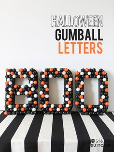 BOO Marquee Letters #halloween  Source: My Sister's Suitcase - sisterssuitcaseblog.com/2014/09/halloween-gumball-letters.html  View entire slideshow: Decorating for a Chic Halloween on http://www.stylemepretty.com/collection/729/