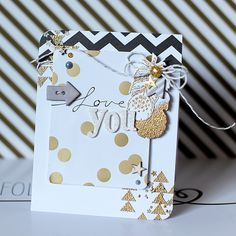 """A trendy metallic love themed card using My Mind's Eye """"Charmed"""" & WPlus9 stamps & dies"""