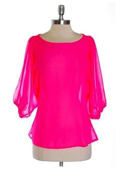 Neon Pink Sheer Sleeve Top - $26.00 : FashionCupcake, Designer Clothing, Accessories, and Gifts
