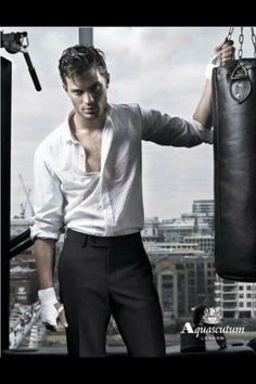 Oh Gosh workout at the office... He is ready to beat the sH1t out of something ...;) hot! christian grey