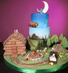butterfli, white flowers, episod 406, camping theme, flower cakes, log cabins, wedding cakes, cabin fever, engagement cakes