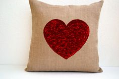 With all my love -  Burlap Pillow covers - Sequin Throw pillows   AmoreBeaute - Housewares on ArtFire