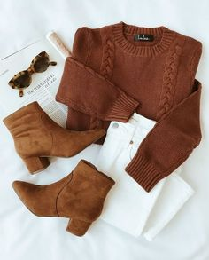 Fall outift | Autumn | Ankle boots | Pullover | White jeans | Sunglasses | Inspiration | More on Fashionchick