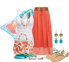 """Coral & Blue"" by amo-iste on Polyvore"