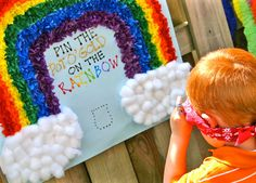 Rainbow party game - pin the pot o' gold on the rainbow