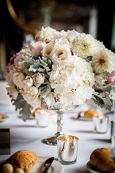 A fluffy floral wedding centerpiece. Leigh Florist, New Jersey.