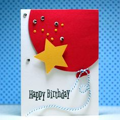 Happy Birthday Big Balloon - Scrapbook.com - Feature a big balloon on the front of your next birthday card!