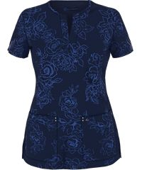 Koi Sapphire Four-Way Stretch Scrubs Jacquard Roses Print Top
