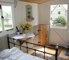 Interior of a restored hut by Cotswolds Shepherds Huts