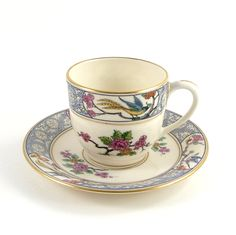 Vintage Lenox Tea Cup and Saucer Ming Demitasse China USA Bird Flowers Asian Chinese Oriental Blue Mauve Pink Gold