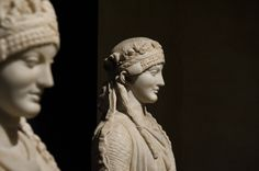 Marble sculpture of Vestal virgin with Vestal virgin smile. C.100BC Capital museum Rome