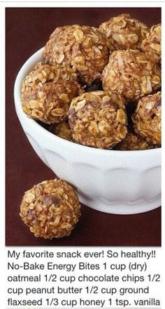 Made these last night too.  They are pretty much perfect. I made them with Ghirardelli's 60% cacao baking chips.   //  No bake Energy Bites...oatmeal chocolate & peanut butter