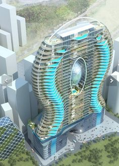 Water Droplet / Ripple Building with Balcony Pools!
