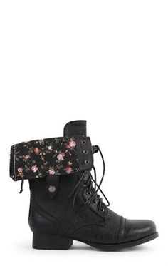Deb Shops #Combat #Boot with Floral Fold Over Cuff $25.74