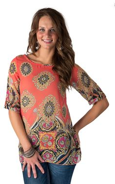 R. Rouge Women's Coral with Medallion Print Tabbed Sleeve Chiffon Top
