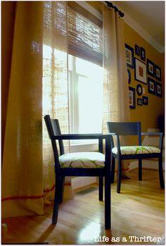 light and airy DIY burlap curtains.