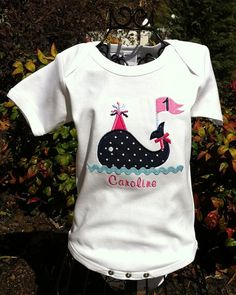 Pink and Navy Whale Party Shirt