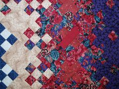 Exuberant Color: blooming nine patch detail, red roses and purple print
