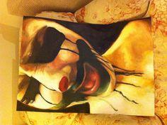 School artwork- A Level- oil paint A1 portrait- clown face- artist: India potesta