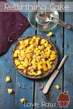 A carob mousse filling with passion fruit marinated mango on top!