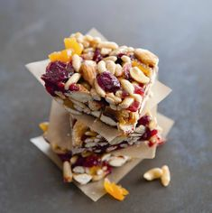 No-bake chewy fruit and nut bars are an awesome after-school snack.