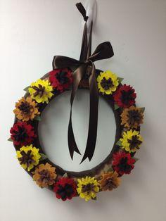 Wreath wreaths flower flowers  fall autumn ribbon felt etsy pairofpetals
