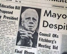 January 29, 1963:  Newspaper announcing the death of Robert Frost