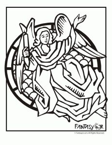 """""""Stained Glass"""" Angel Art Coloring Pages."""