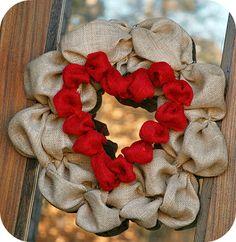 Burlap Heart Wreath tutorial