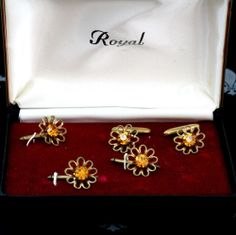 ROYAL Antique Vintage Gents Cufflinks Tuxedo Shirt Floral 5 Studs Original Box