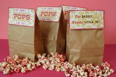 "Valentine popcorn treat bag. ""My heart POPS for you!"""