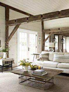 Love the beams! coffee tables, cottag, living rooms, exposed beams, barn, white, hous, live room, wood beams