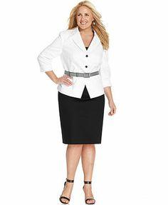 Tahari ASL Plus Size Striped-Belt Skirt Suit
