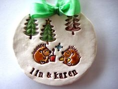 Hedgehog Love Couple Winter Personalized Ornament