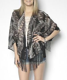Suzy Leaf Print Fringed Kimono Blouse ($30). Available In-Store & Online www.suzyshier.com