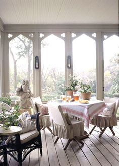 country porches, potted plants, window, summer porch, folding chairs, sunroom, vintage tablecloths, screened porches, country homes
