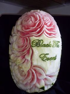 Black Tie Events Watermelon Carving by Yolanda Diaz - http://www.vegetablefruitcarving.com/blog/happy-carving-customer-successes/