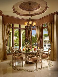 decor, dining rooms, breakfast rooms, dine, breakfast nooks, bay windows, tray ceilings, ceiling detail, design
