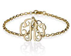 "Monogram bracelet - Personalized 18k gold plated sterling silver monogram- 0.6"". $35.95, via Etsy."