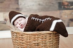 Ravelry: Football Cocoon (Newborn only) pattern by Boomer Beanies