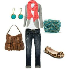 Jeans with gray and coral and turquoise.
