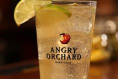Orchard Limeade: 1/2 oz absinthe 1/2 oz lime juice 4 oz Angry Orchard Green Apple cider Sprig of fresh thyme 2 lime slices #AngryOrchard #Cocktail #Cider #AO #GreenApple