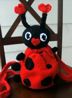 """Crochet Amigurumi Ladybug Backpack/Pouch (Etsy- Crafty Kitty Crochet)"" #Amigurumi  #crochet"