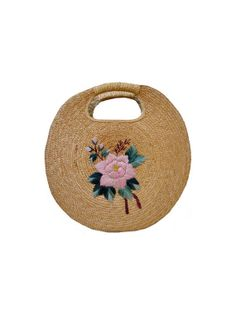 FRENCH  xl 50's round straw BASKET // 1950's BAG by jolimome, $45.00