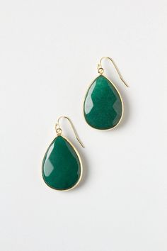 """- 14k gold plated metal, glass, turquoise or jade - 1.25""""L, 0.75""""W - Handmade in USA"""