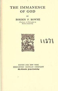 The Immanence of God - Borden P. Bowne