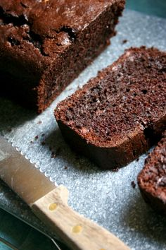 chocolate zucchini bread/brownies  (for the zucchini my neighbor just gave me).   Made 3 of these and just tried a piece - SOOOOO delicious!!  Will definitely be making this recipe over and over again!  Just deleted the other chocolate zucchini bread recipe I pinned because there's no way it's better than this!