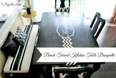 DIY Kitchen Table Banquette using chalk paint, decrative pillows and wire baskets