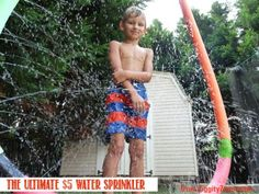 Pool noodle crafts ... make this water sprinkler from Dollar store pool noodles ... an easy and inexpensive craft project to create some Summer Fun for the family!